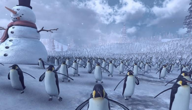 сражение армии Санта-Клаусов с пингвинами