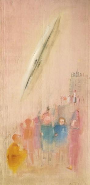 Александр Лабас. Дирижабль и детдом. 1930. Х., м. 160 х 80