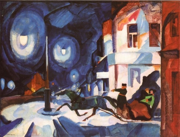 Рудольф Френц. Невский ночью. Извозчик. 1923. Х.,м. 64 х 82